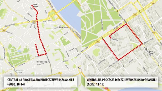 Procesje przejdą po prawej i lewej stronie Wisły Targeo / tvnwarszawa.pl
