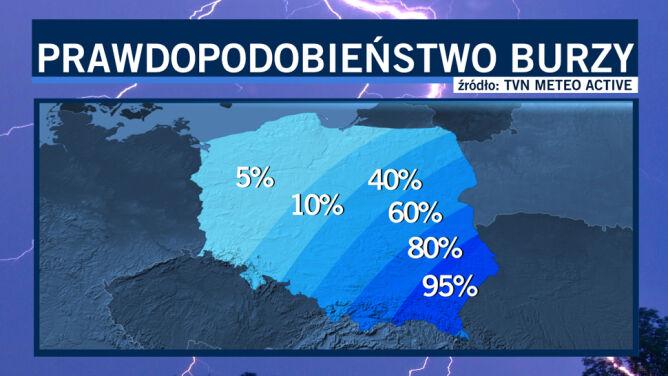 Potężny front przyniósł do Polski ulewy i burze