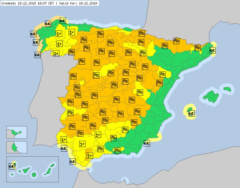 Ostrzeżenia meteorologiczne dla Hiszpanii na czwartek (meteoalarm.eu)
