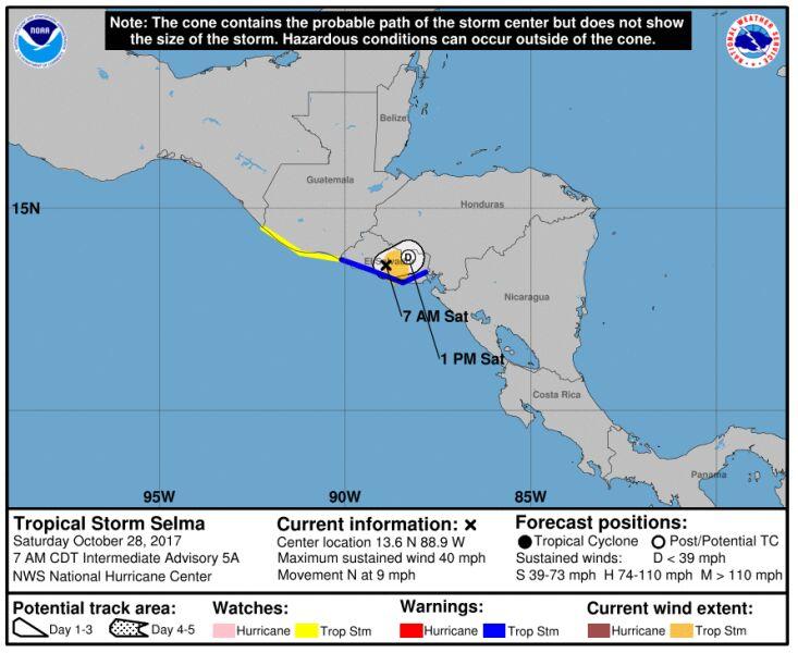 Przewidywana droga burzy tropikalnej Selma