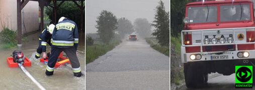 Ulewy w okolicach Krosna. Podtopienia posesji, zalana droga gminna