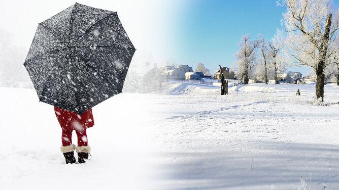 Czasem słońce, czasem śnieg. <br />Pogoda nie może się zdecydować